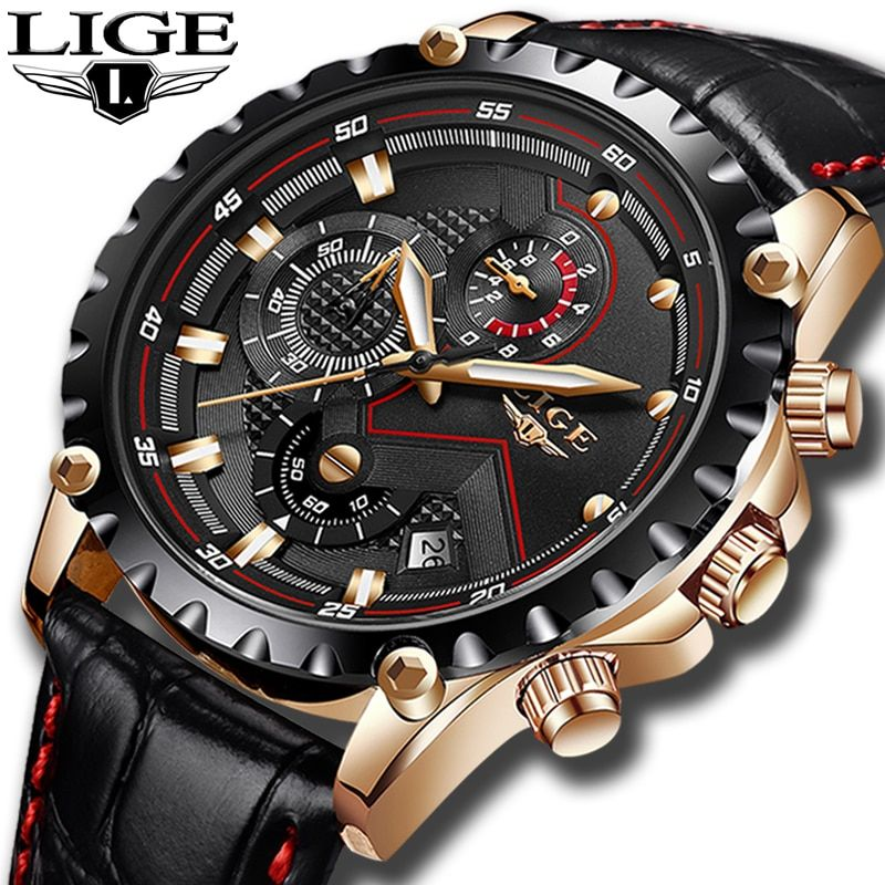 Mens Watches LIGE Top Brand Luxury Men's Military Sports Watch Men's Chronograph Date Waterproof Quartz Watch Relogio Masculino
