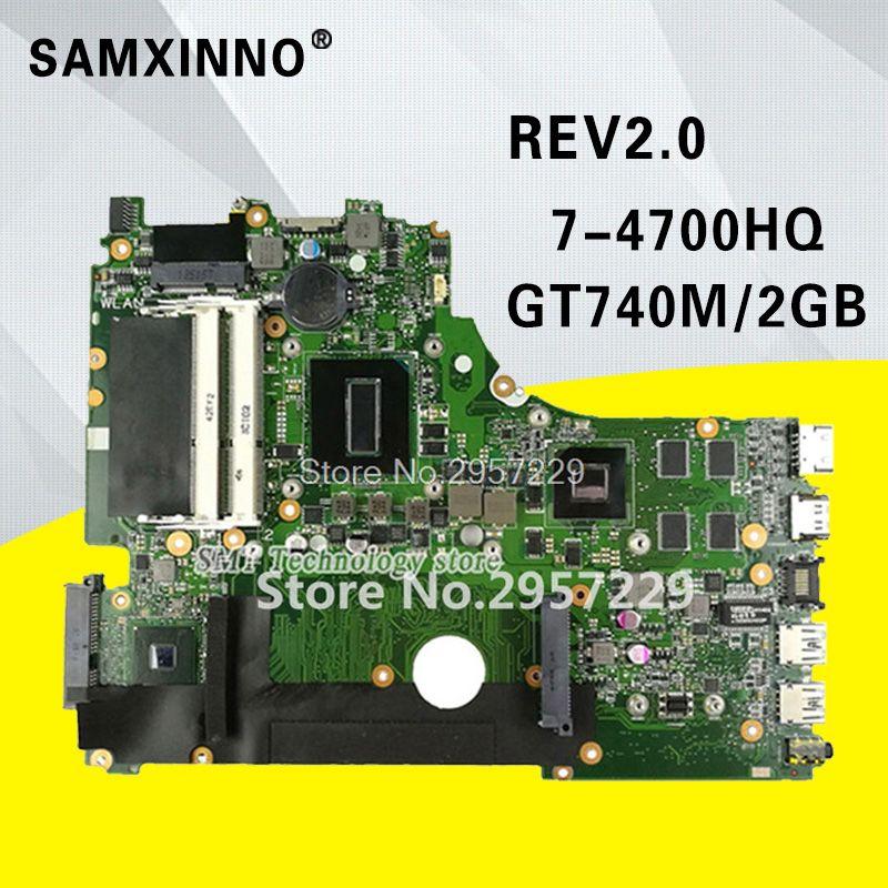 X750JB Motherboard i7-4700HQ GT740M/2GB RAM For ASUS A750J K750J K750JB laptop Motherboard X750JB Mainboard X750JB test 100% OK