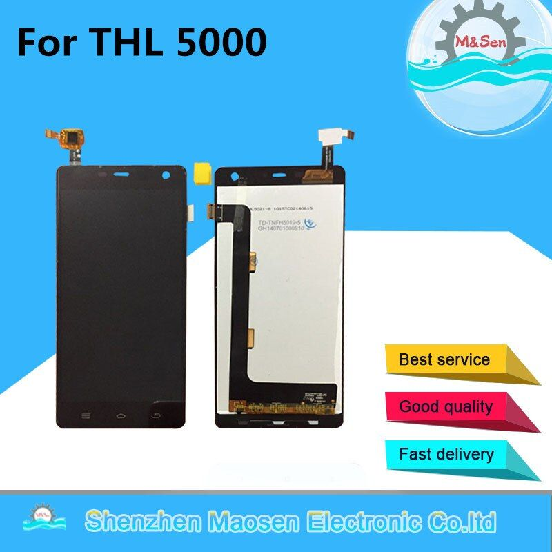 M&Sen For THL 5000 LCD screen display + Touch panel digitizer For THL 5000 Black/white free shipping with tools