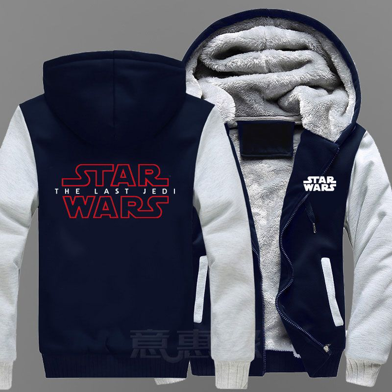 New Star Wars 8 Hoodie Anime Star Wars Episode VIII The Last Jedi Coat Jacket Winter Men Thick Zipper Sweatshirt