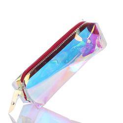 1 PC PVC Tahan Air Portable Hologram Warna Pensil Mini Zip Pouch Makeup Kosmetik Pena Siswa Tas Penyimpanan Alat Tulis Supply