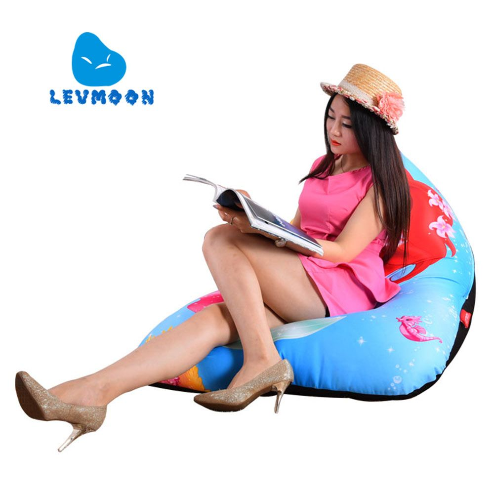 LEVMOON Beanbag Sofa Chair Mermaid Seat zac Shell Comfort Bean Bag Bed Cover Without Filler Cotton Indoor Beanbag Lounge Chair