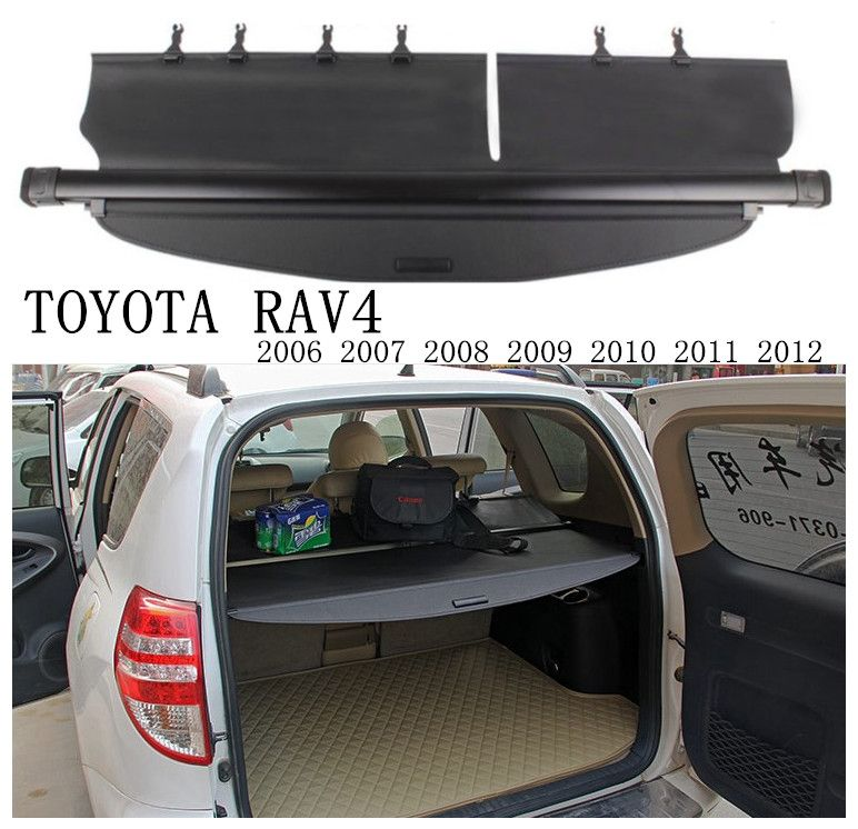 Car Rear Trunk Security Shield Cargo Cover For TOYOTA RAV4 2006 07 08 2009 10 11 2012 High Qualit Black Beige Auto Accessories