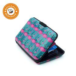 BONAMIE marca Metal de aluminio identificación de la carpeta tarjeta de crédito titular caso Flamingo patrón Anti RFID tarjeta para hombres mujeres
