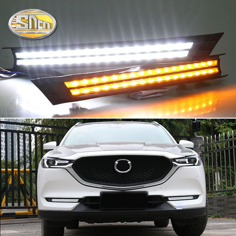 For Mazda CX-5 2017 2018,Flowing Turn Signal Relay Waterproof Car DRL 12V LED Daytime Running Light Fog Lamp Decoration SNCN