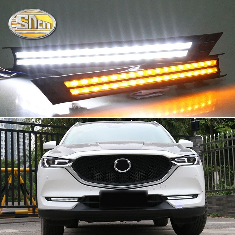 For Mazda CX-5 2017 2018,Flowing Turn Signal Relay Waterproof Car DRL 12V LED Daytime Running Light Fog Lamp Decoration SNCN