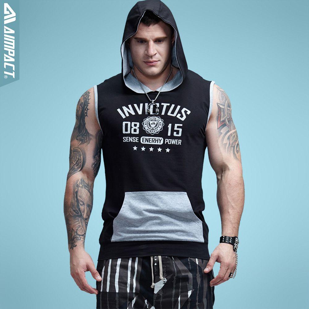 Aimpact Bodybuilding Sleeveless Hoodie Kontrast Taschenclip Ausgestattet Baumwolle Herren Tank Tops Mode Terry Muscle T-shirts Männlichen 2AM1011