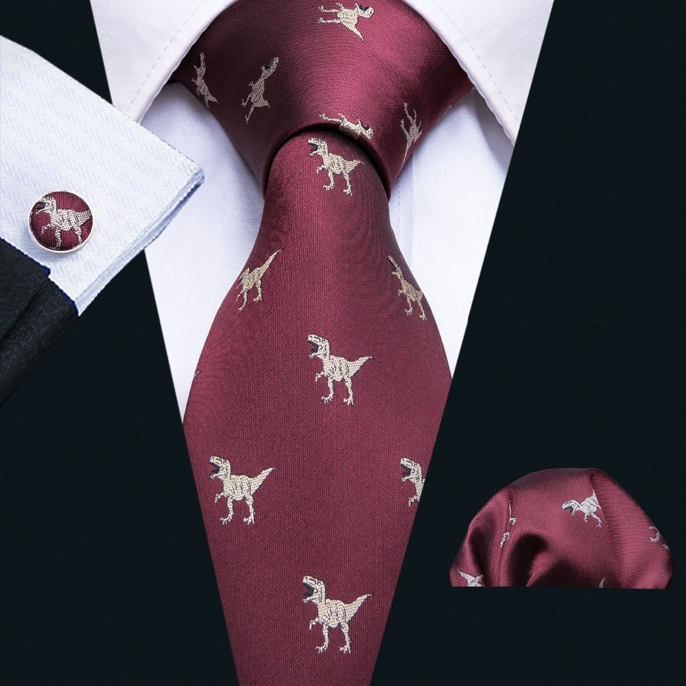 2018 New Arrival Men's Ties Dinosaur Pattern Red Mens Wedding Neckties 8.5cm Necktie Business Silk Ties For Men Tie FA-5060