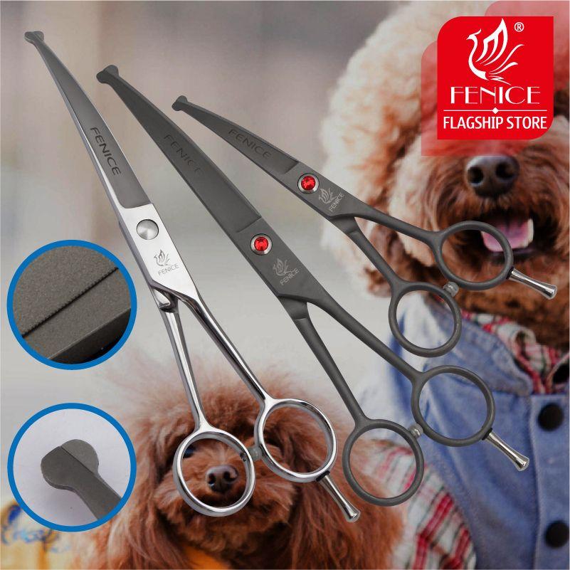 Fenice haute qualité 4.5 7.0 pouces pet dog acier en toute sécurité embouts ronds top toilettage petits ciseaux outil lame incurvée 15 degrés