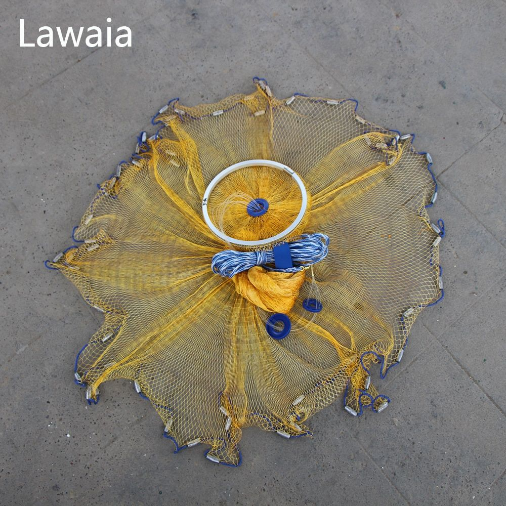 Lawaia Fly Fishing Net Saltwater Casting Nets 2ft Fishing Network Holder Monofilament Nylon Lead sinkers Fish Tools