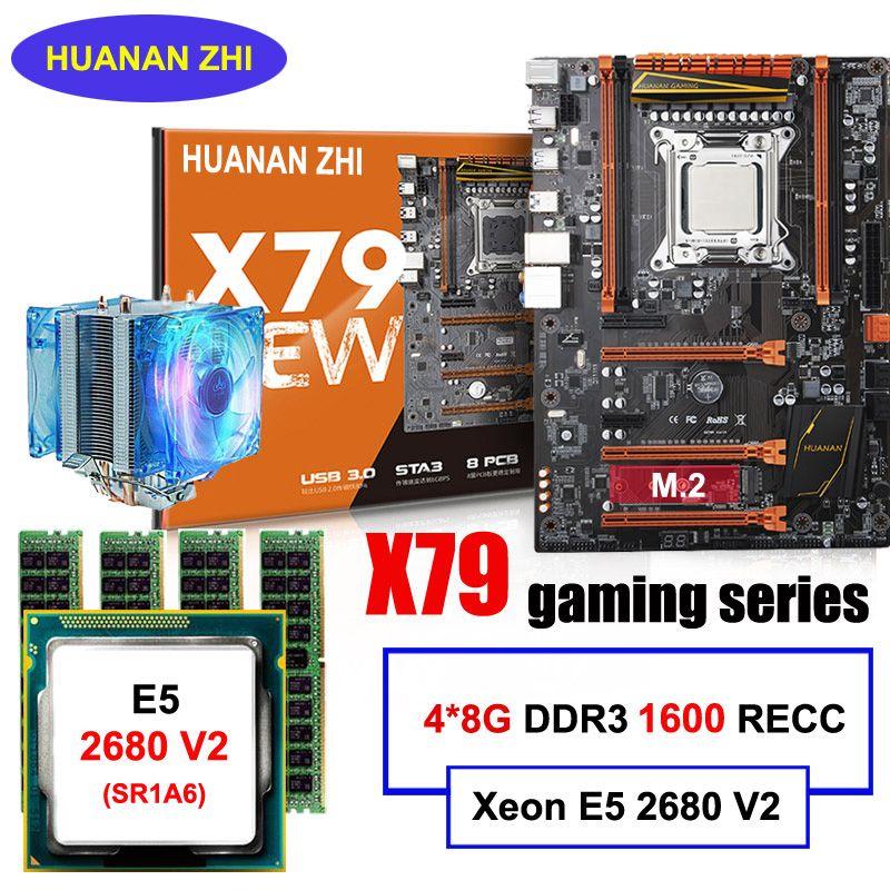Gute qualität HUANAN ZHI deluxe rabatt X79 motherboard mit M.2 slot CPU Xeon E5 2680 V2 mit kühler RAM 32G (4*8G) 1600 RECC