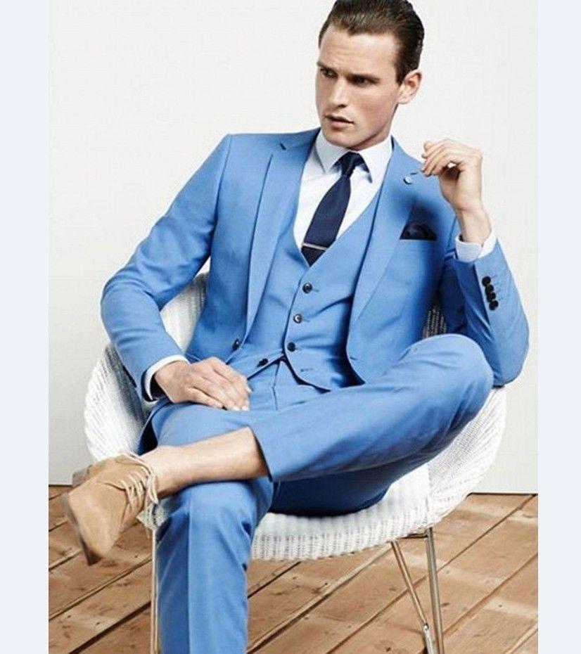 Handsome Cool Terno Bespoke Fashion Men Suits Slim Notch Lapel One Button Sky Bule Jacket Pant Vest Navy Bule Tie Handkerchief