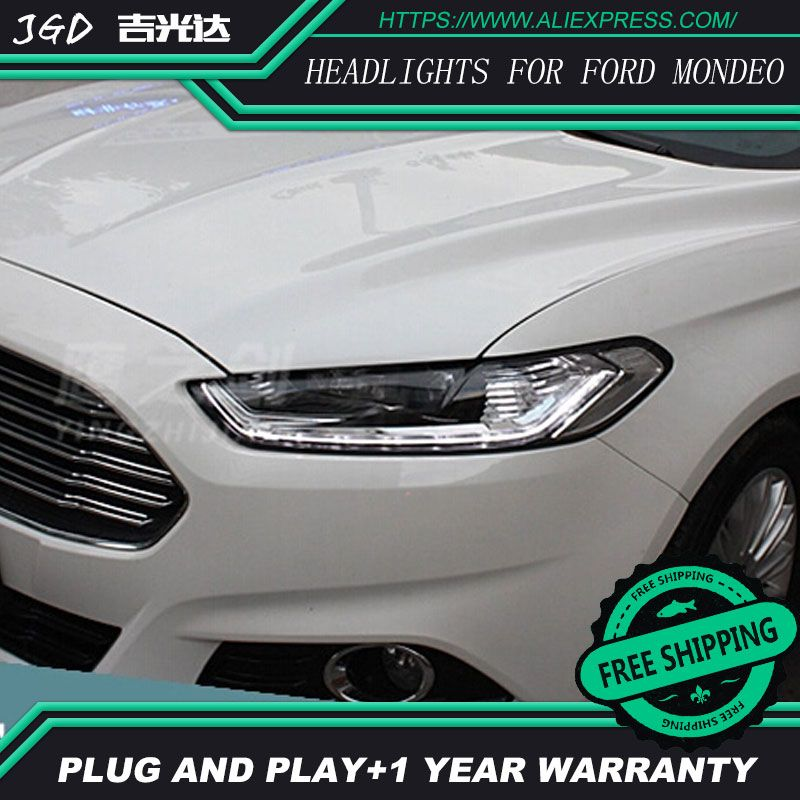 Free shipping ! Car styling LED HID 2013-2015 LED headlights Head Lamp case for Ford mondeo Bi-Xenon mondeo Lens low beam