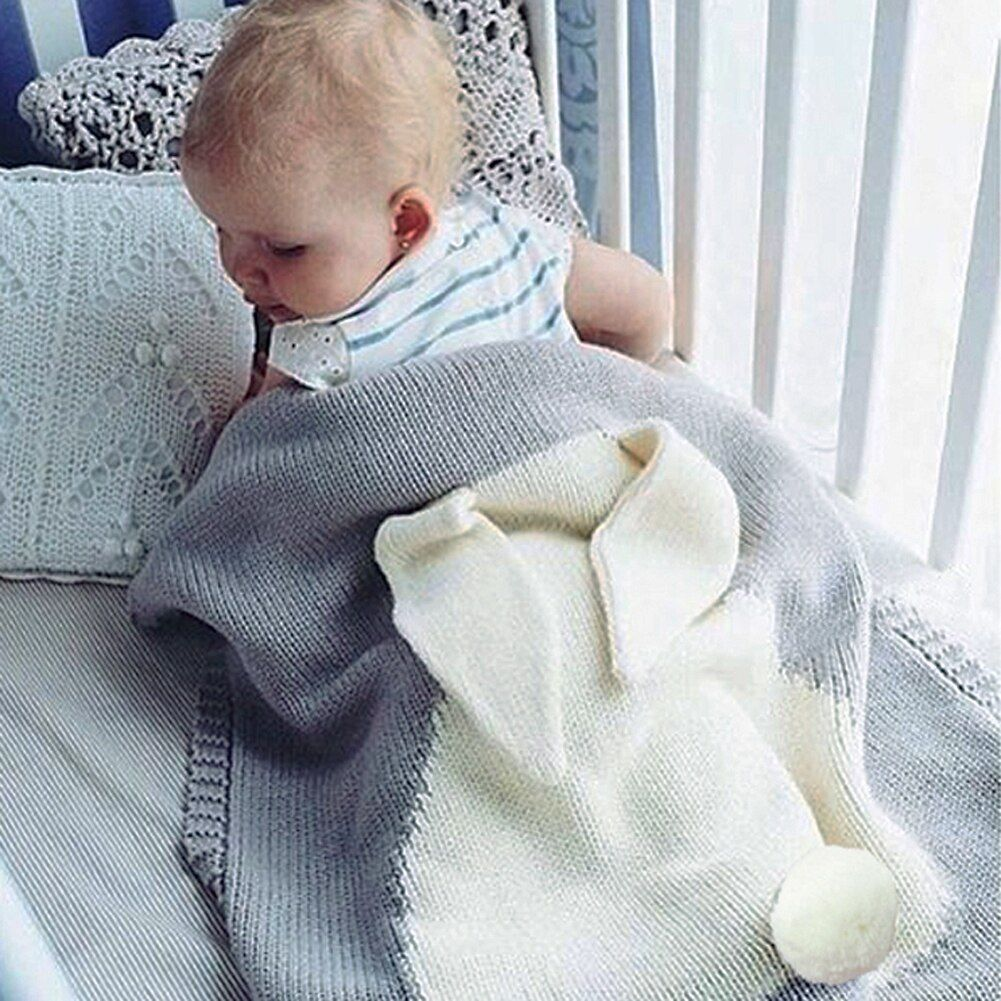 Детские милые большой кролик уха пеленание Одеяло мягкий теплый вязаный пеленать детей Для ванной Полотенца маленьких Постельные принадле...
