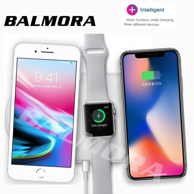 BALMORA For iWatch 2 3 Airpower QI Wireless Charger For iPhone X 8 8plus Fast Charging Pad For GalaxyS8 S8plus S6 S7edge USB
