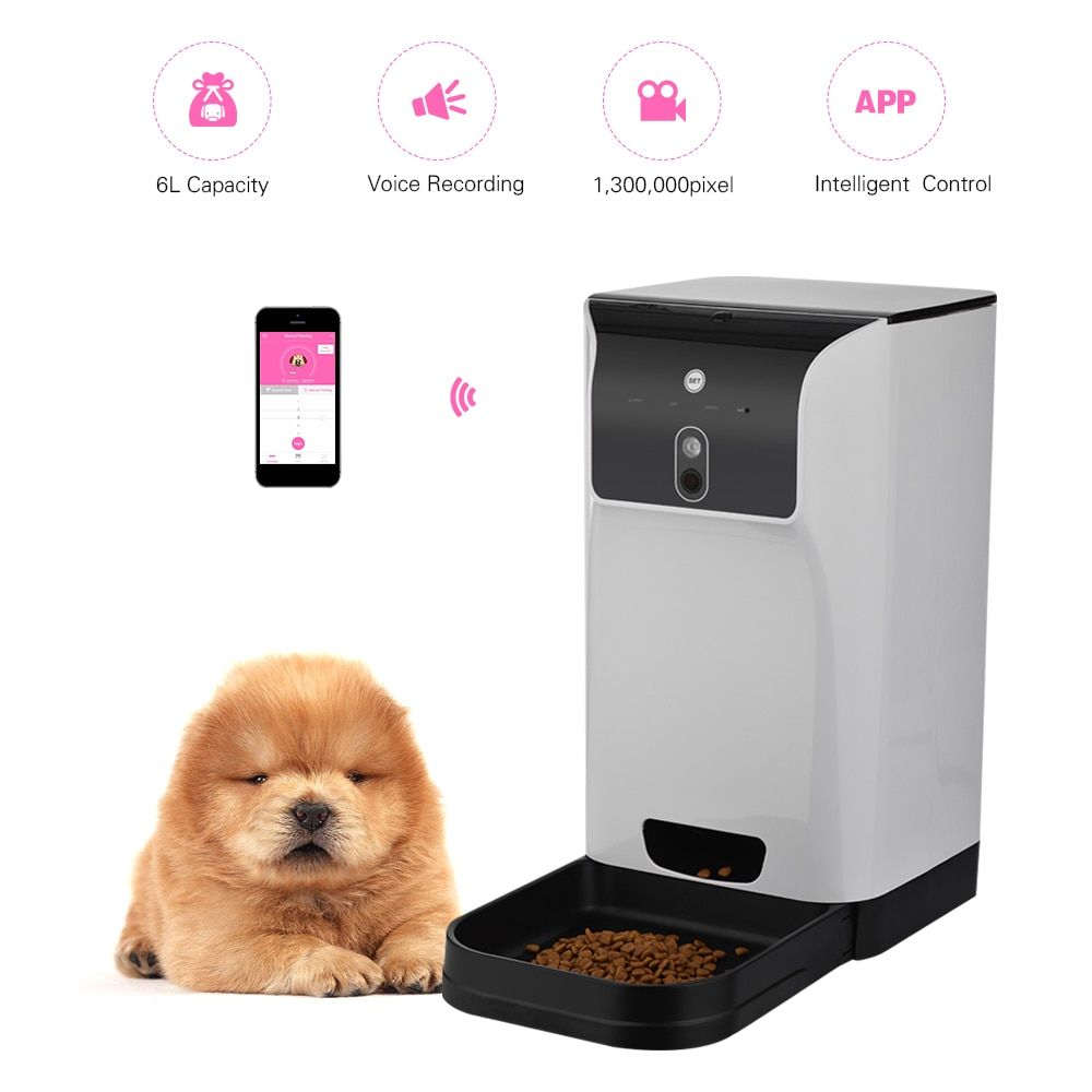 APP Automatic Pet Feeder Cat/Dog Food Dispenser 6L Storage with Camera Voice Recorder Wifi Connection Compatible For IOS Android