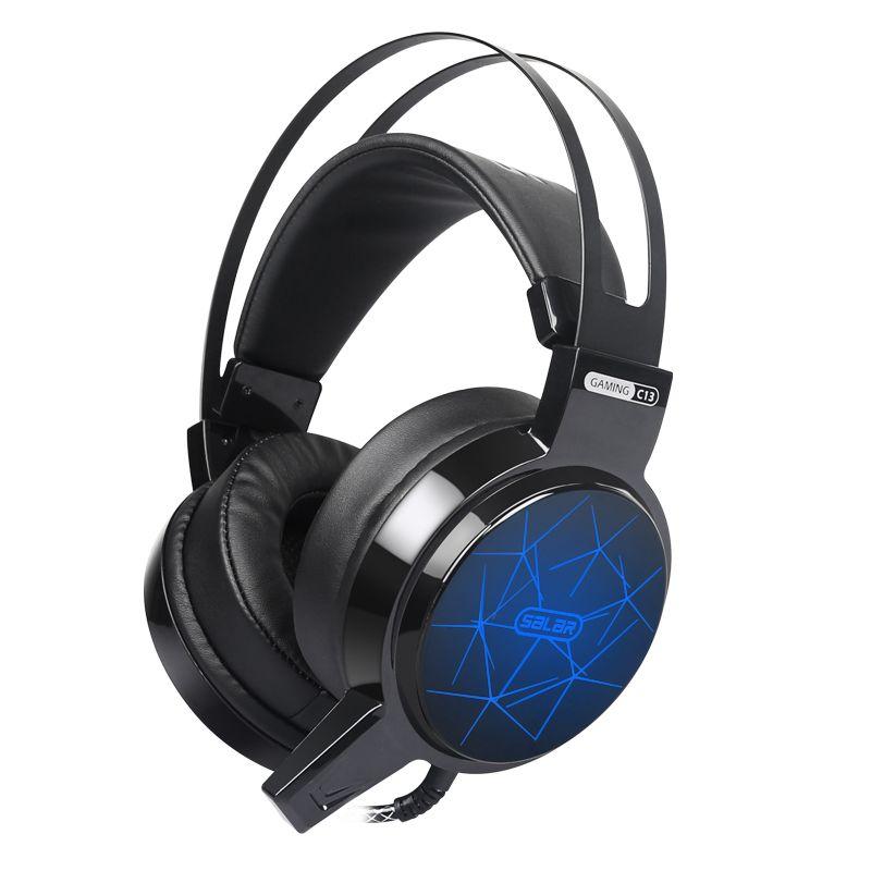 Salar C13 casque de jeu stéréo basse profonde jeu casque ordinateur filaire écouteur avec microphone lumière LED pour ordinateur pc gamer