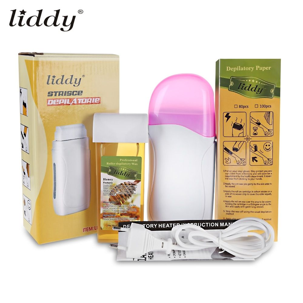 LIDDY 3 In 1 Depilatory Hair Removal Wax Wet Wax Strips For Hair Removal With Epilator Machine Cartridge Heater Waxing Paper Set