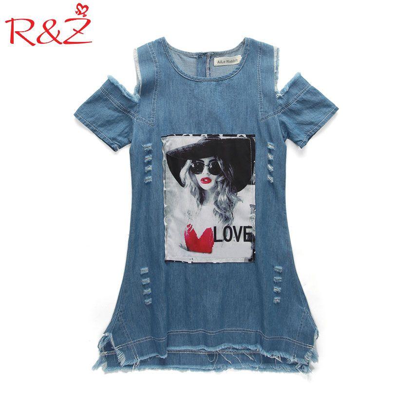 Enfants Robes Pour Les Filles Denim Robe D'été Bretelles Robe Motif Filles Vêtements À Manches Courtes Enfant Vêtements Denim T-Shirts