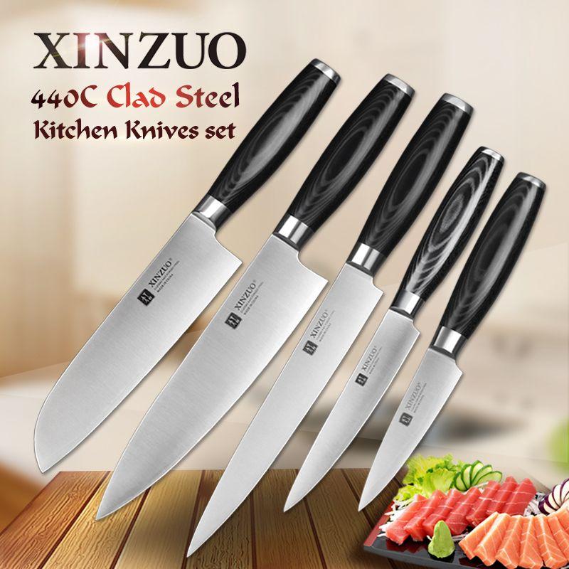 XINZUO 5 stücke küchenmesser set schäl utility cleaver santoku kochmesser 3 schichten 440C verkleidet stahl Küchenmesser freies verschiffen