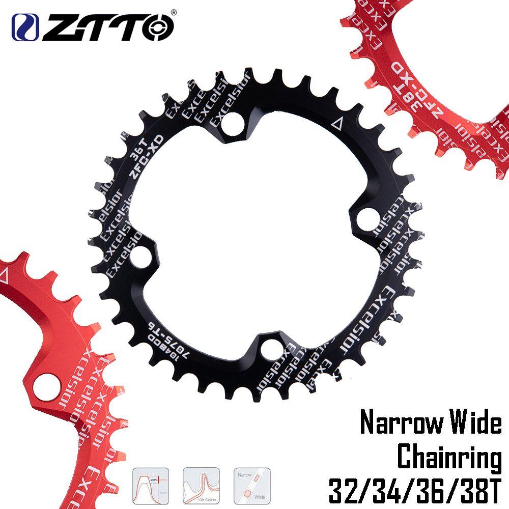 ZTTO vtt 104BCD rond étroit large vélo unique vitesse ensemble de manivelle 32/34/36/38T en alliage d'aluminium VTT chaîne anneau