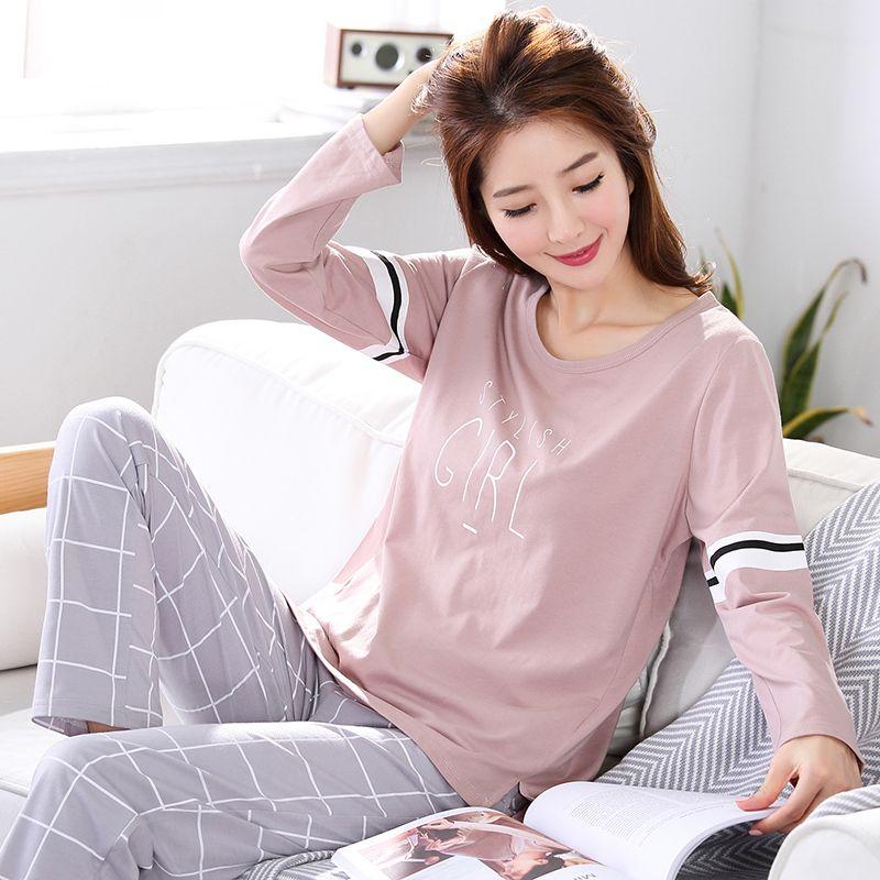 pajamas women A79 spring autumn long sleeve pajamas cotton