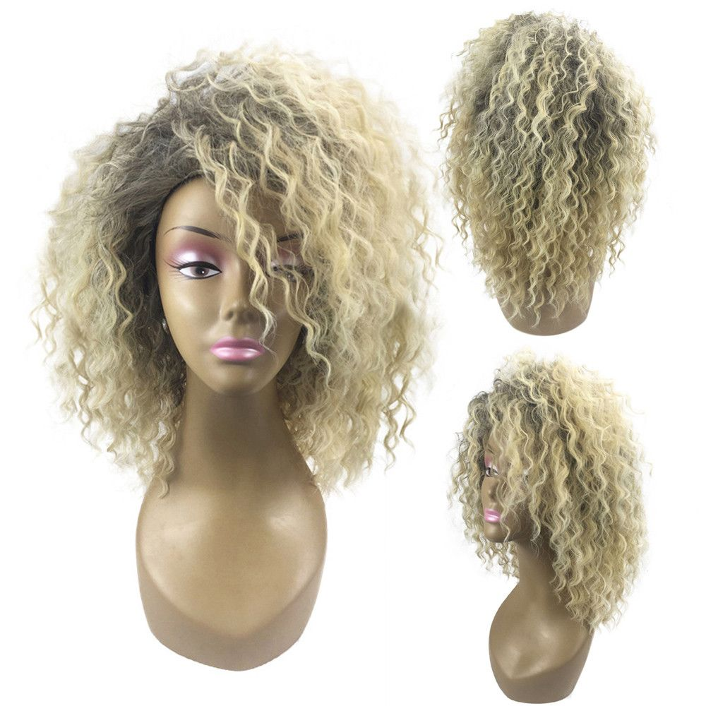 New Women Wedding Blonde Kinky Curly Wig Afro American Wigs Soft Synthetic Wig for Fashion Women x#dropship