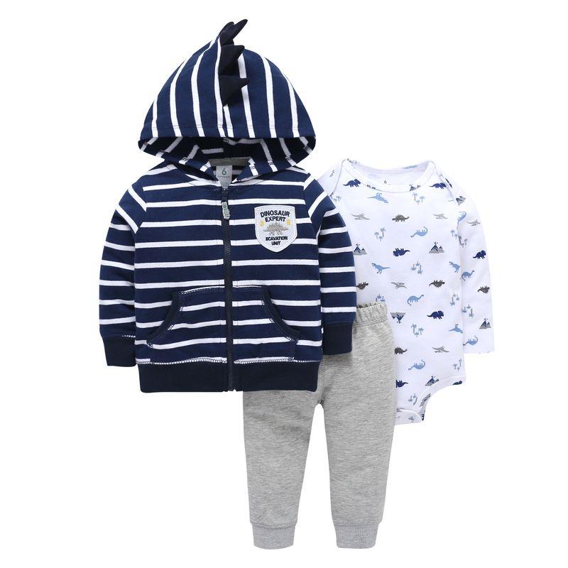 2019 réel coton bébé vêtements trois pièces Normal garçon fille Clothessize body & pantalon ensemble 6 ~ 24 mois enfants vêtements ensembles