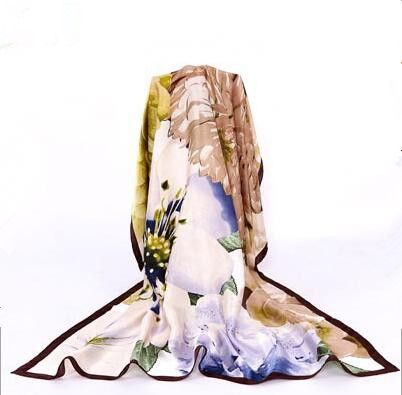 100% silk flower scarf soft pashmina for women <font><b>high</b></font> quality