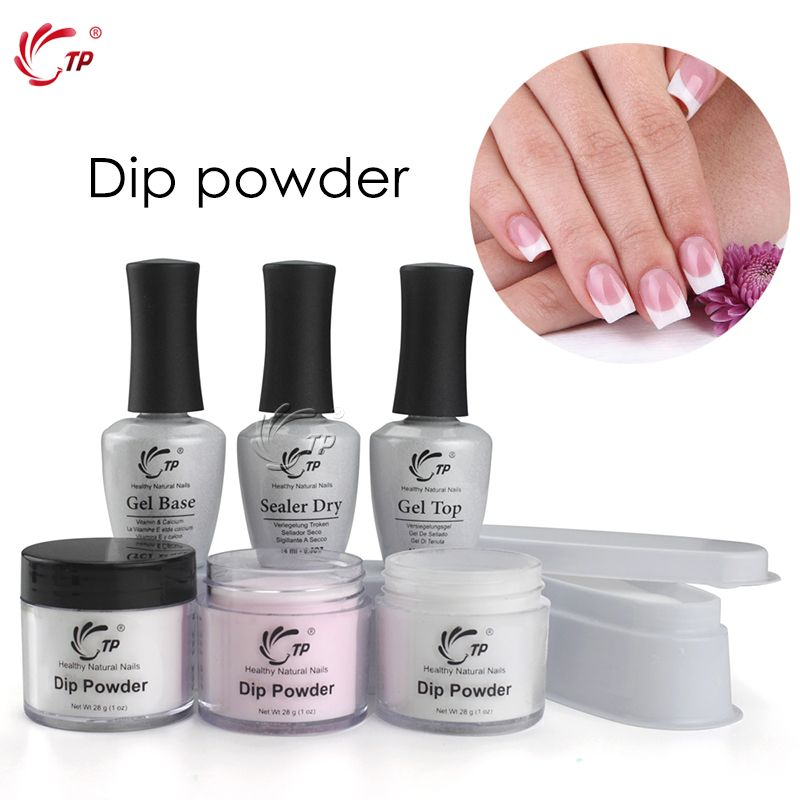 TP French White Nail Tips Dipping Powder No Lamp Cure Nails Dip Powders Transparent French Manicure Natural Dry For Nail Salon