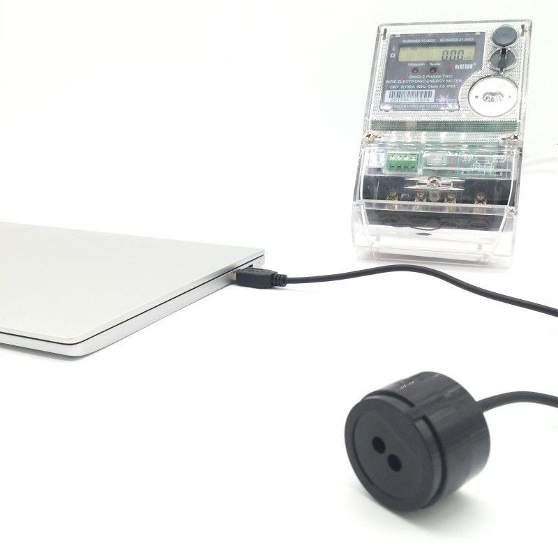 RJ-OPUSB-IEC couleur noire 2 mètres câble droit IEC62056-21 protocole compteur intelligent infrarouge USB sondes optiques