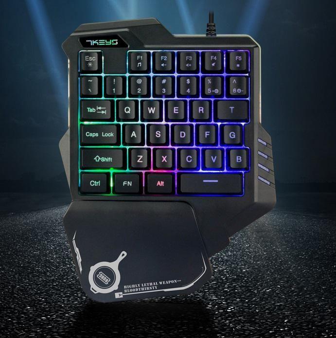 DSstyles G30 clavier de jeu filaire avec rétro-éclairage LED 35 touches clavier à Membrane à une main pour LOL/PUBG/CF