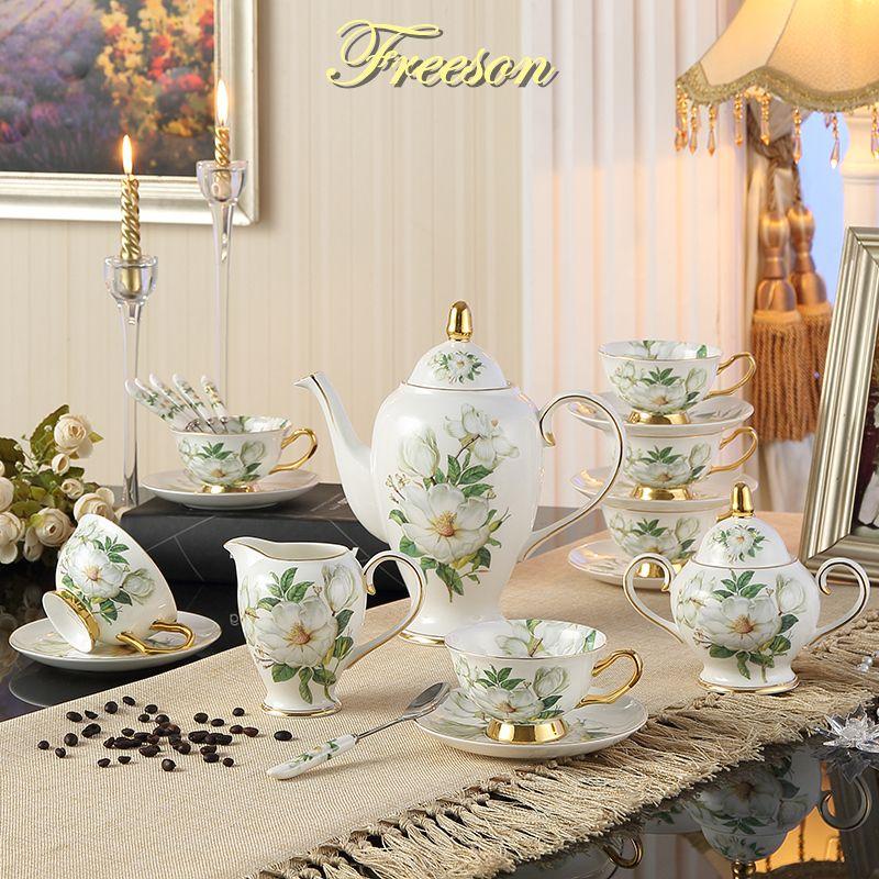Europe camélia os chine café ensemble britannique porcelaine thé ensemble céramique Pot crémier sucrier Teatime théière tasse à café tasse