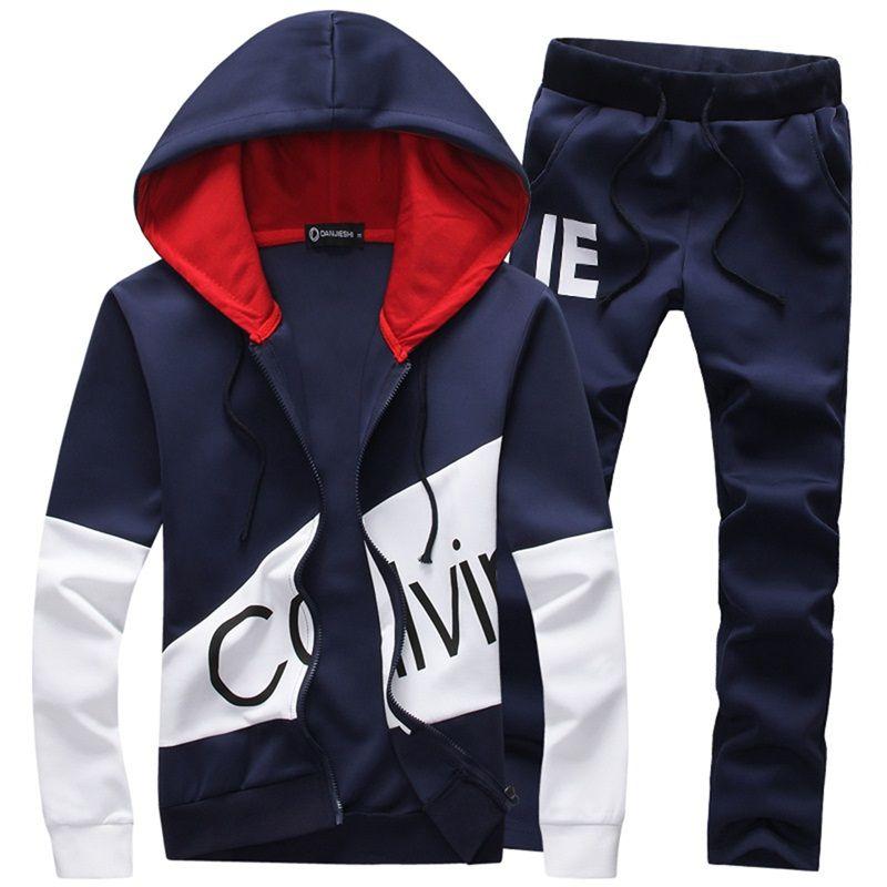 Fashion Style 2 Pieces Set Casual Tracksuit Men Coat Sweatshirt + Pants Sportswear Male Suit Plus Size Mens Hoodies