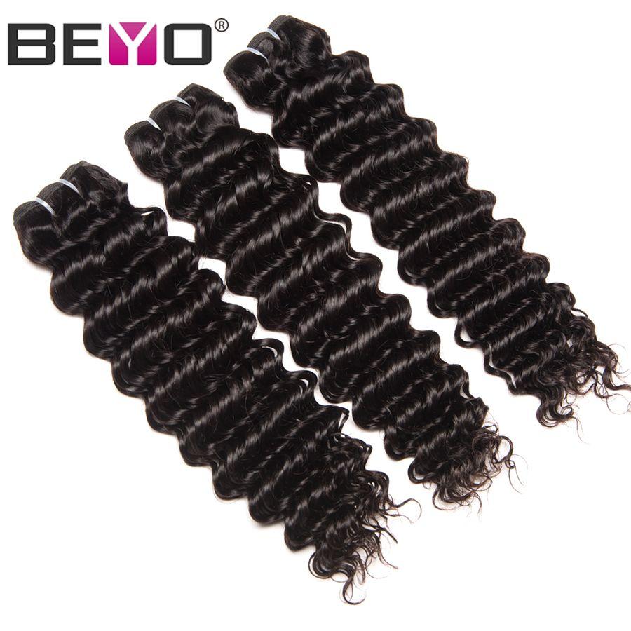 Beyo Vague Profonde Péruvienne Cheveux Bundles 1/3/4 pc/lot 100% de Cheveux Humains Weave Bundles 10-28 pouce Non-Remy Extension de Cheveux Couleur Naturelle