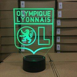 Olympique Lyonnais Lampe LED illusion 7 Couleurs 3D Football Maison de Lampe De Table Chambre Décoratif Humeur Éclairage Nouveauté Ami Cadeaux