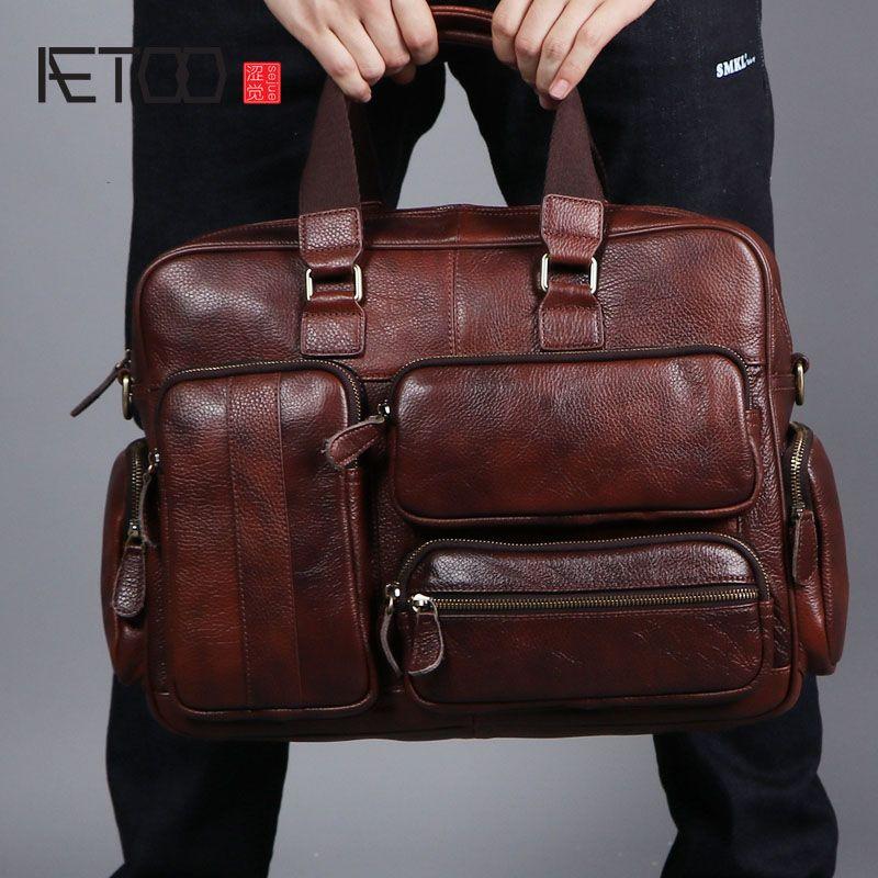 AETOO Original retro multifunctional oil skin briefcase male bag leather business bag men's shoulder bag