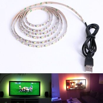 DC 5 V USB LED bande SMD 3528 RVB Flexible Lumière Lampes LED lumière TV Fond Éclairage Adhésif Bande 50 CM 1 M 2 M 3 M 4 M 5 M