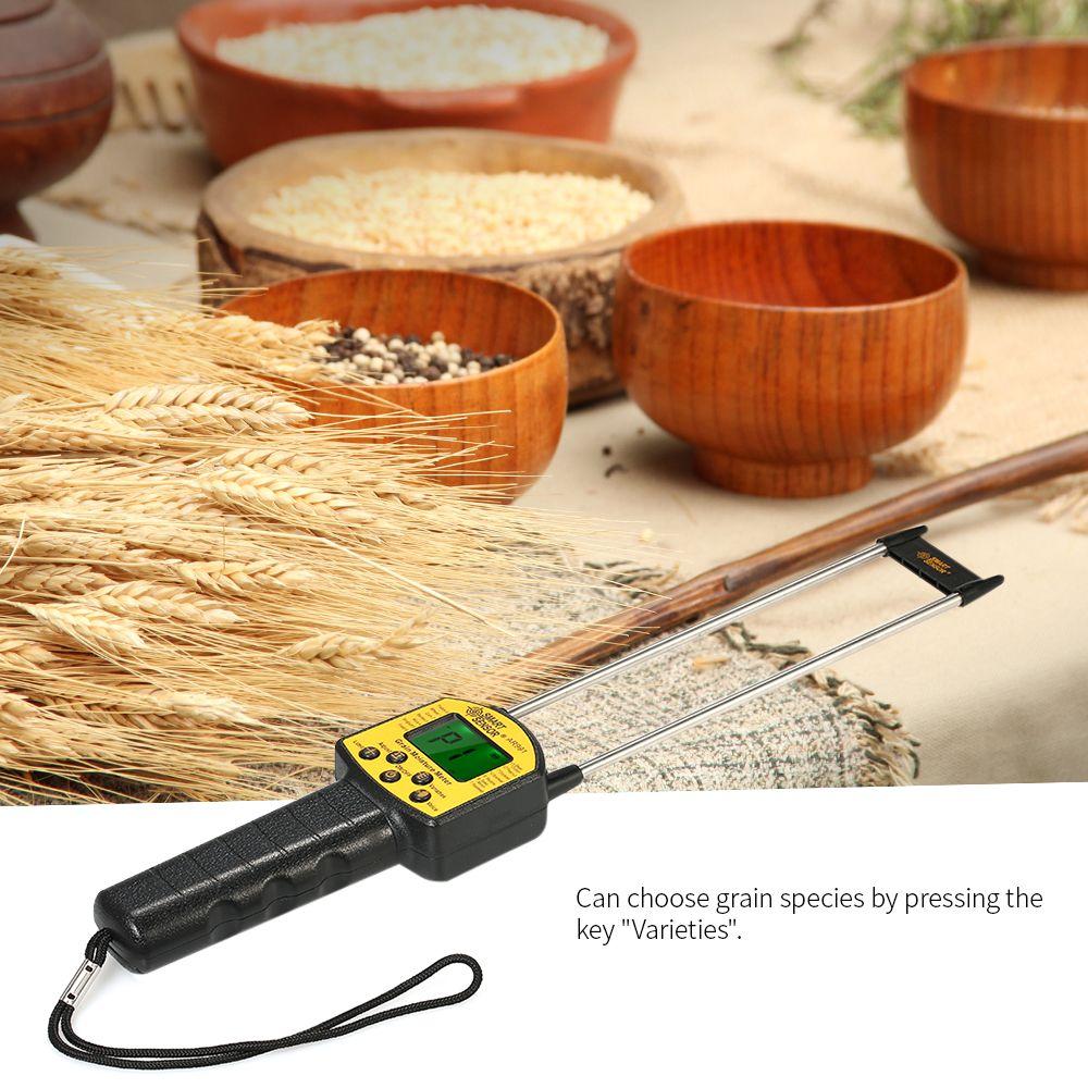 Handheld LCD Digital Grain Moisture Meter Hygrometer with Measuring Probe for Corn Wheat Rice Bean Flour fodder rapeseed seed