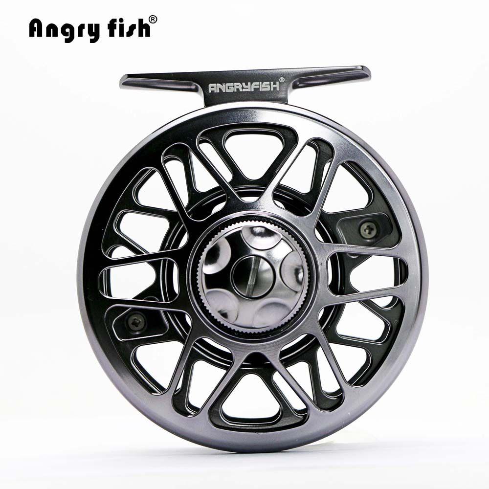 Angryfish Full Metal Fly Fishing Reel 2+1BB Aluminum Alloy Die Casting Fly Reel Fishing Reel with Large Arbor