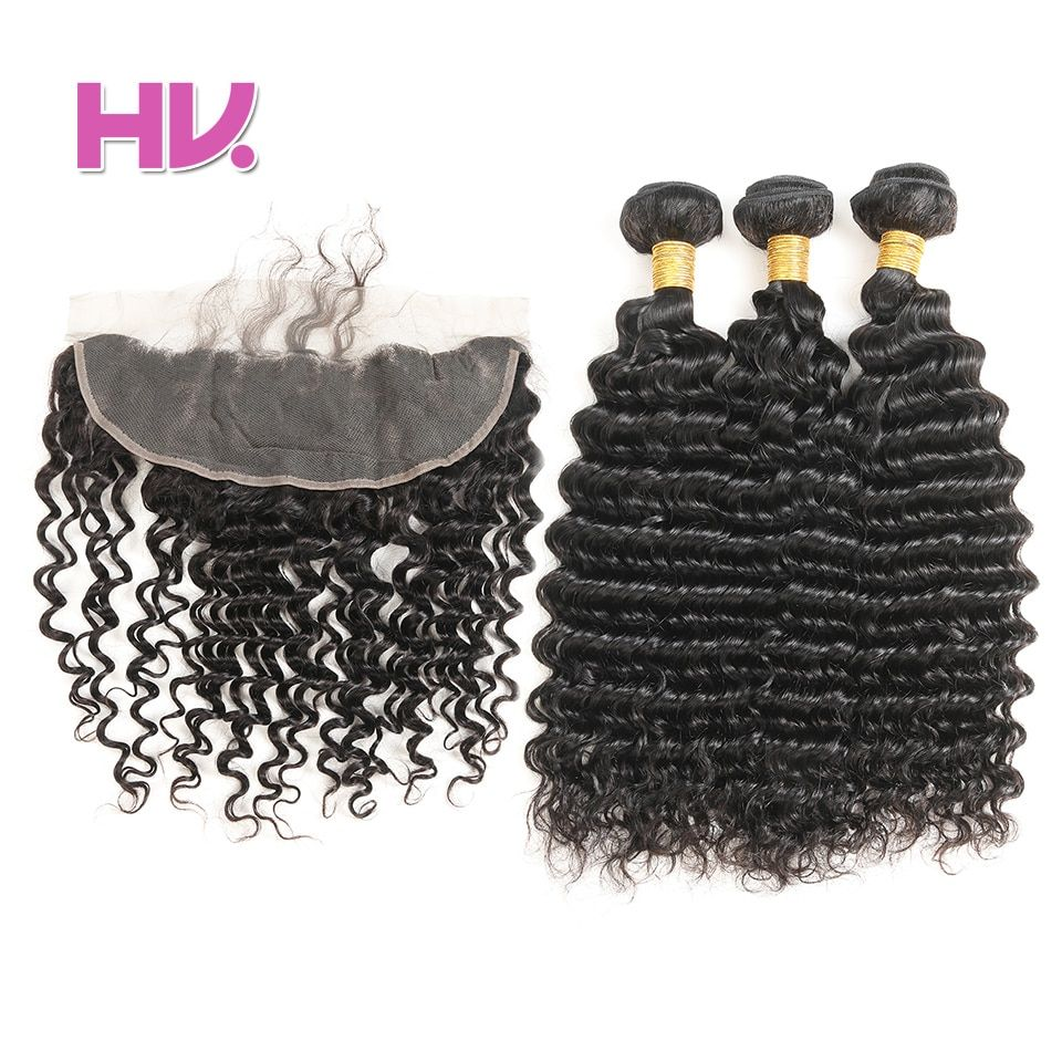 Hair Villa Remy Brazilian Deep Wave With Lace Frontal Closure 13*4 Ear to Ear Human Hair 2/3 Bundles with Lace Frontal For Salon