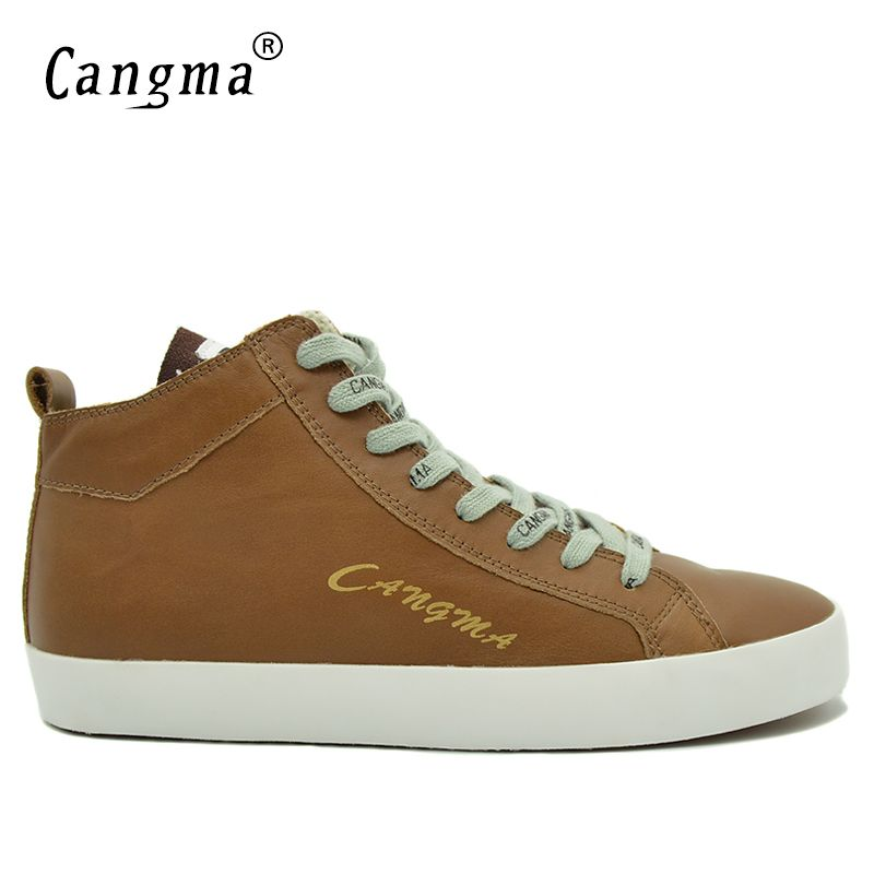 CANGMA Famous Comfortable Footwear Genuine Leather Man's Handmade Brown Platform Sneakers Men Flats Shoes Mid Male Casual Shoes
