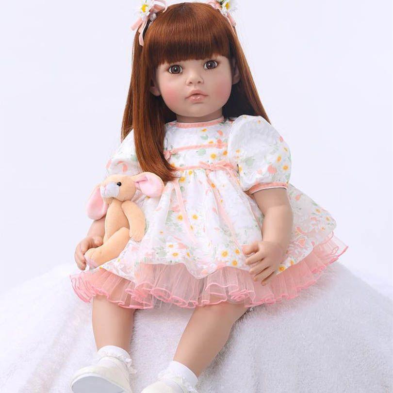 New Fashion 2017 Baby Girl Doll 60cm Silicone Reborn Baby Lifelike Long Hair Princess Doll with Bear Birthday Gift Girl Dolls