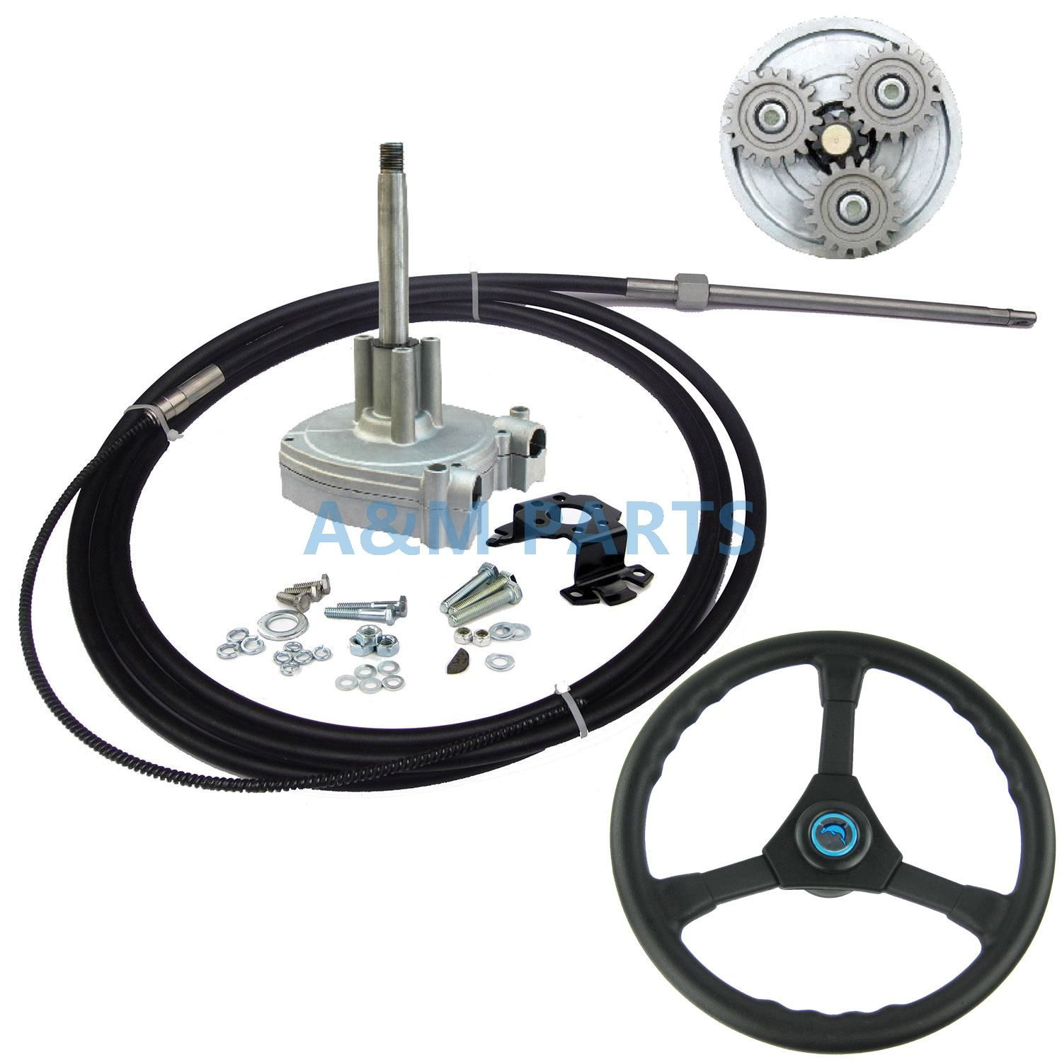 12FT Planetary Gear Marine Outboard Mechanical Steering System Helm With Boat Steering Cable & Wheel