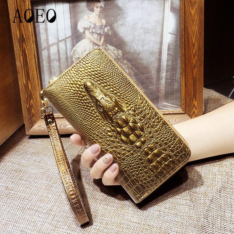 Dames en cuir portefeuilles 3D crocodile alligator femmes bourse d'embrayage À Long Femelle Bracelet porte-monnaie Téléphone Pocket Handy Filles Portefeuille