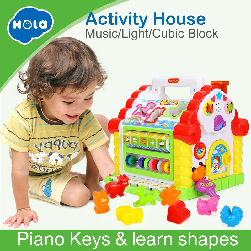 HUILE TOYS 739 Multifunctional Musical Toys Baby Fun House Musical Electronic Geometric Blocks Sorting <font><b>Learning</b></font> Educational Toys