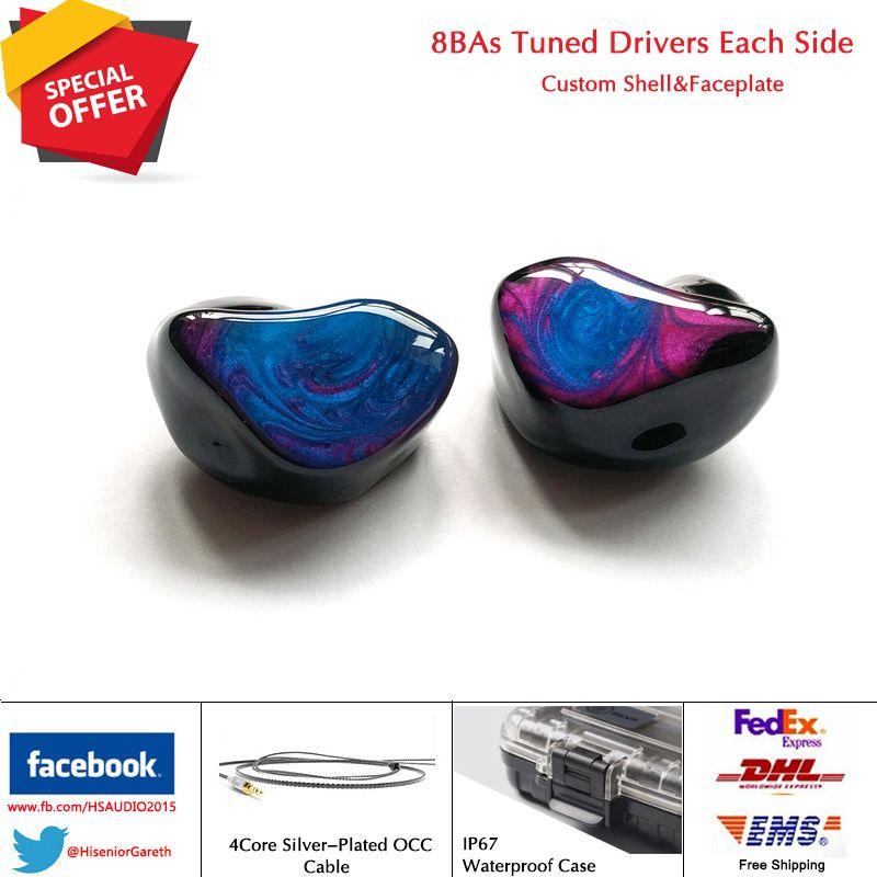 HS AUDIO T8 8/16Units Balanced Armature Drivers Custom Fit Noise Cancelling In-ear Monitors CIEM Custom Earphone