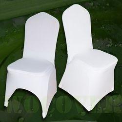 100 PCS Extensible Élastique Universel Blanc Spandex De Mariage Housses de Chaise pour Les Mariages Parti Banquet Hôtel Polyester Tissu