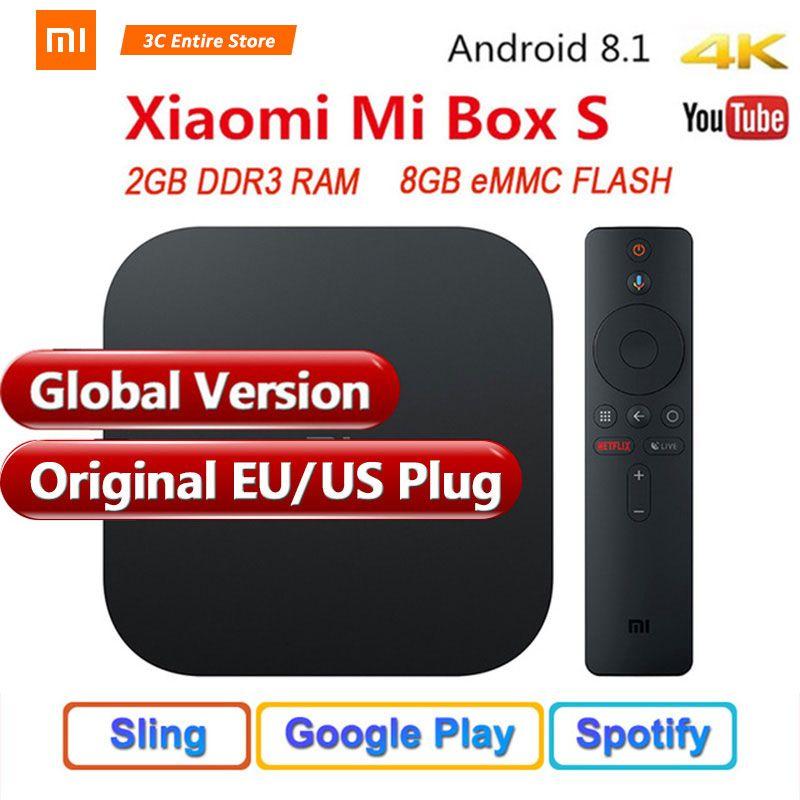 Original Global Version Xiaomi Mi Box S 4 Android 8.1 4K QuadCore Smart TV Box 2GB 8GB HDMI 2.4G 5.8G WiFi BT4.2 Mali450 1000Mbp