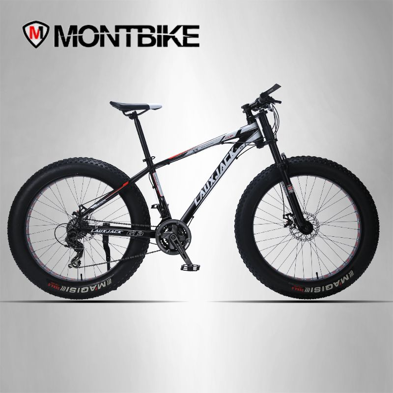 LAUXJACK Mountain bike aluminum frame 24 speed mechanical brakes 26 x4.0 wheels long fork FatBike